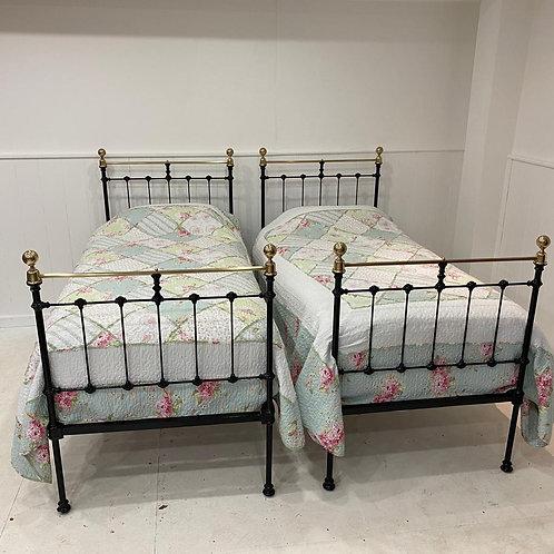 Twin Black Single Beds - OM100