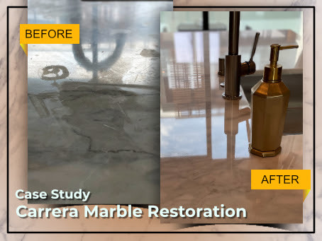 A Case Study on Carrera Marble Countertops And Kitchen Island Restoration in Beverly Hills