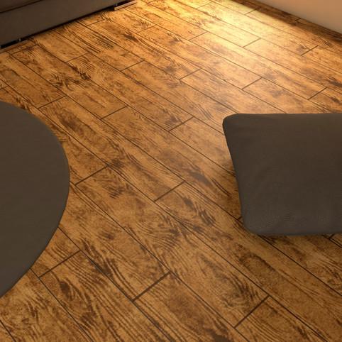 Brazilian Walnut RenuKrete ECF floor in basement with rug close-up