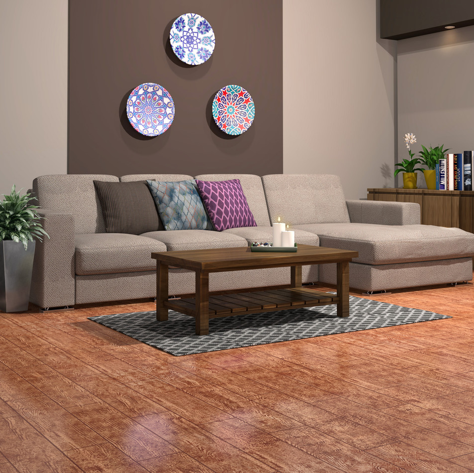 Rustic Red Oak ECF floor in basement with couch and wall decor