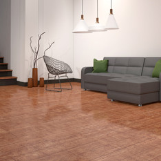 Rustic Red Oak ECF floor in basement with couch and lamps
