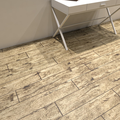 French Pine RenuKrete ECF floor in basement with table close-up