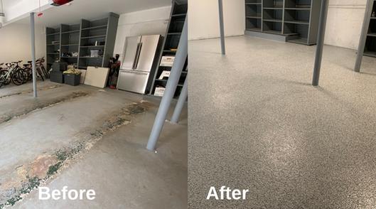 Epoxy floor installation in a garage