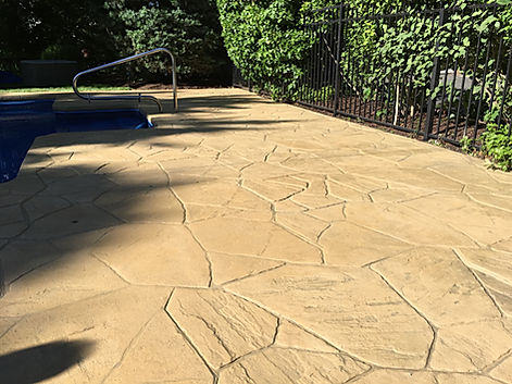 Stamped Concrete Pool Deck After RenuKrete Revival in Long Island