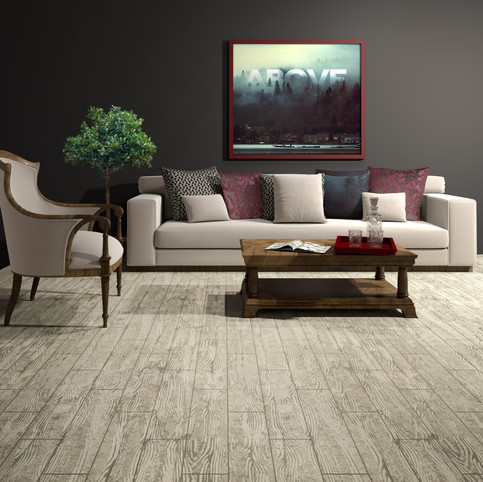 Carolina Birchwood RenuKrete ECF floor in basement with couch and coffee table