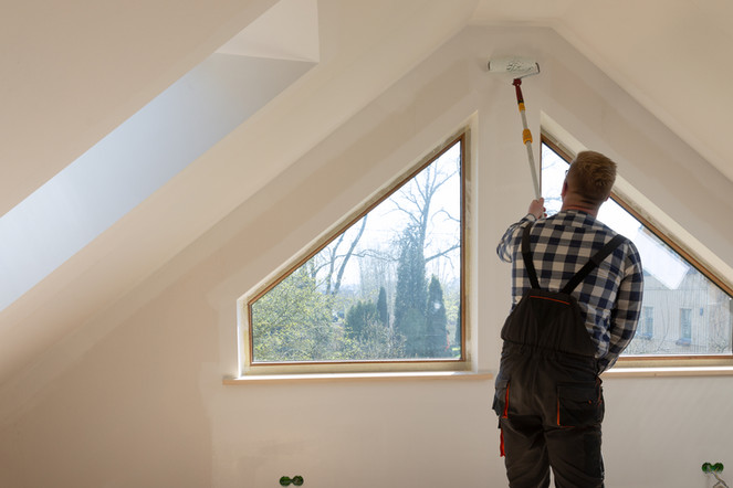 Painting a bedroom in a finished attic