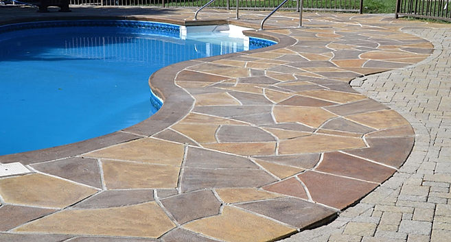 Hurricane Slate Natural Stone Looking Concrete Pool Deck