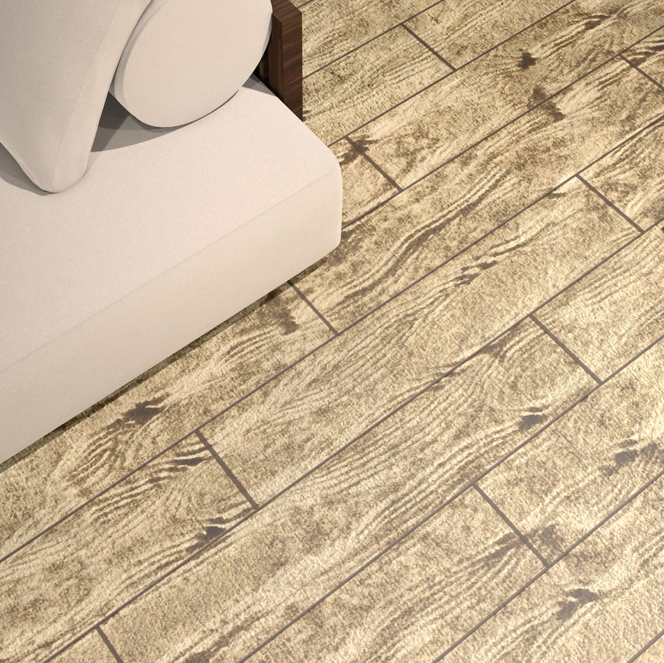 French Pine RenuKrete ECF floor in basement with couch close-up