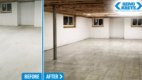 RenuKrete brings designer style to radiant heat installation in basement concrete slab.