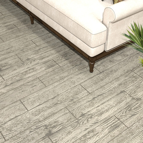 Carolina Birchwood RenuKrete ECF floor in basement with couch and coffee table close-up