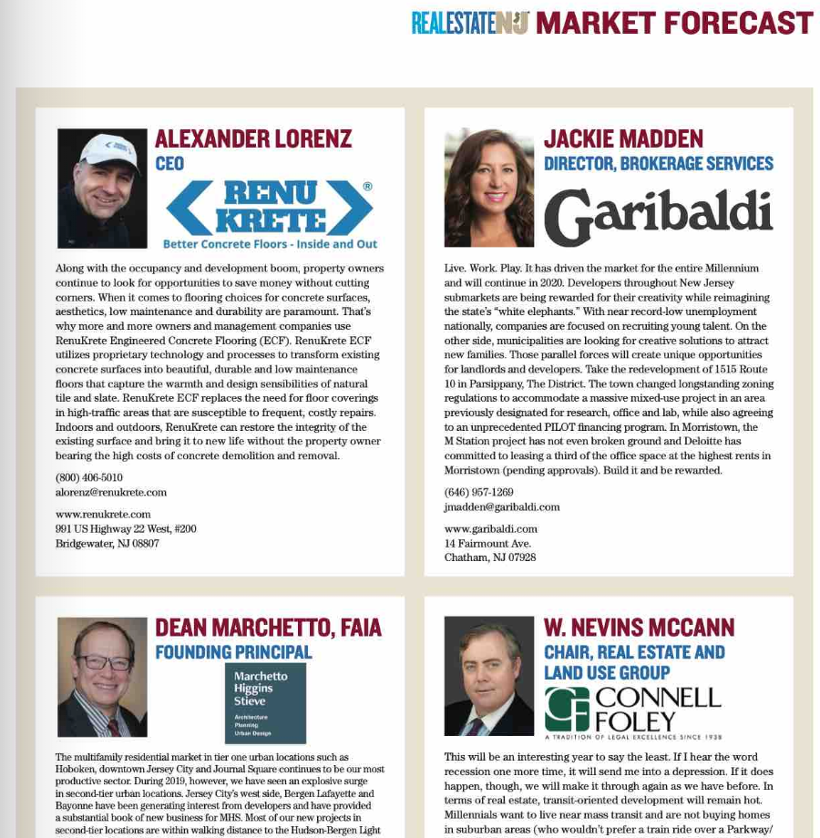 Renukrete Quoted In New Jersey Real Estate Journal 2020 Market Forecast