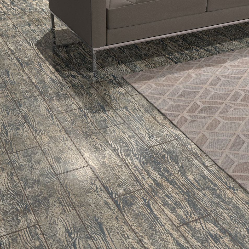 Nordic Black Maple ECF floor in basement with couch close-up