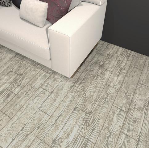 Carolina Birchwood RenuKrete ECF floor in basement with couch close-up