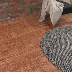 Rustic Red Oak ECF floor in basement with round rug