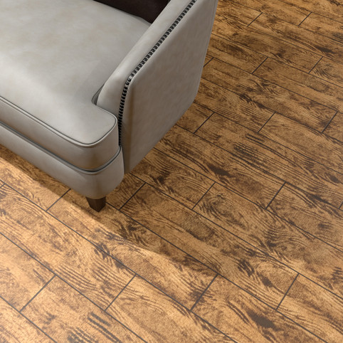 Brazilian Walnut RenuKrete ECF floor in basement with couch close-up