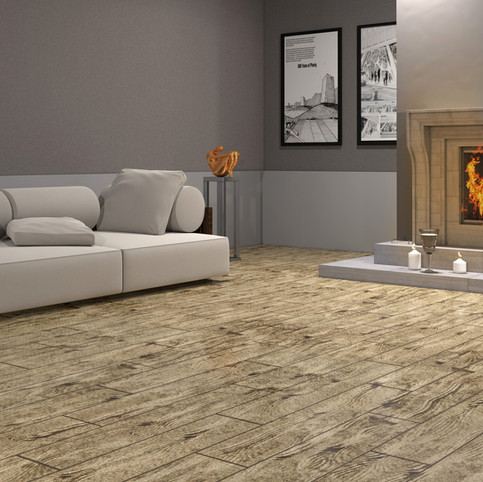 French Pine RenuKrete ECF floor in basement with couch and fireplace