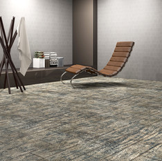 Nordic Black Maple ECF floor in basement with modern chair