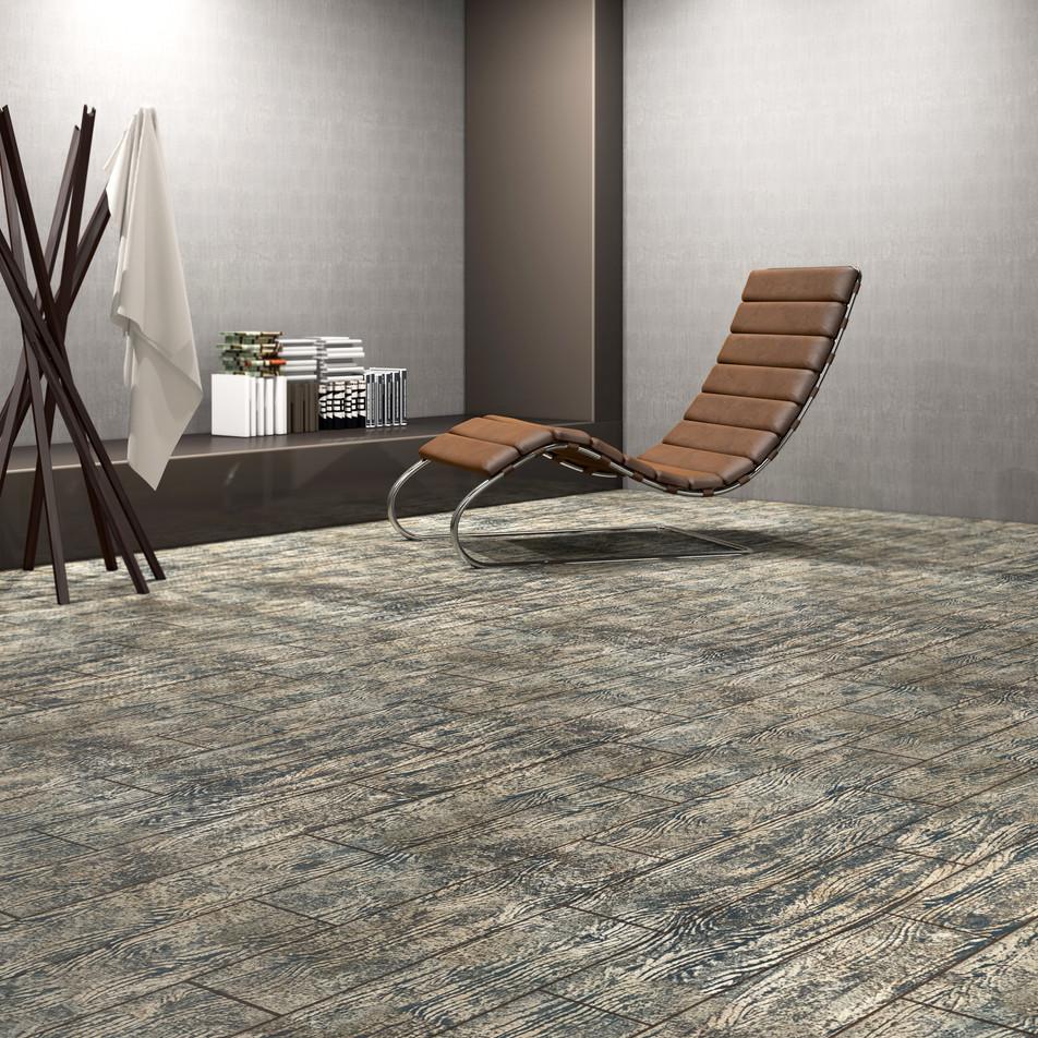 Nordic Black Maple ECF floor in basement with modern chair