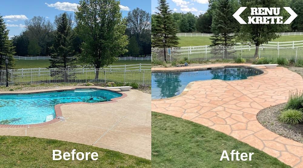 shows a rejuvenated concrete pool deck that looks like Tuscany flagstone