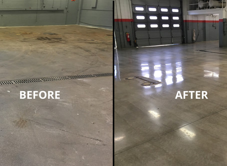RenuKrete concrete polishing makes an unsightly NJ Cadillac auto dealer service floor shine.