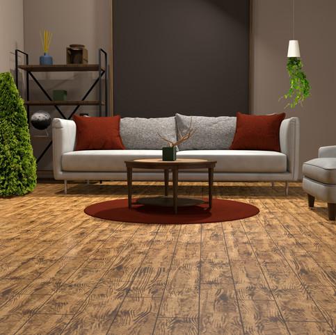 Brazilian Walnut RenuKrete ECF floor in basement with couch and coffee table