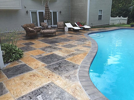 Stamped Concrete Pool Deck After RenuKrete Revival