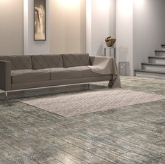 Nordic Black Maple ECF floor in basement with couch and wall decor