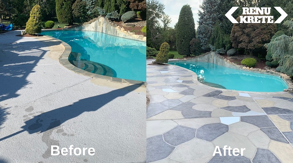 Before and after of a concrete pool deck resurfaced with RenuKrete