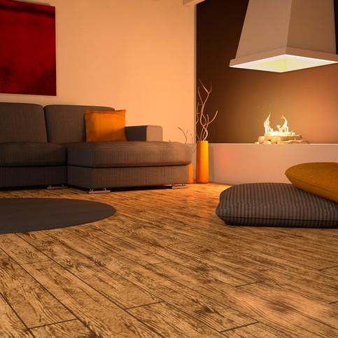 Brazilian Walnut RenuKrete ECF floor in basement with couch and open fireplace