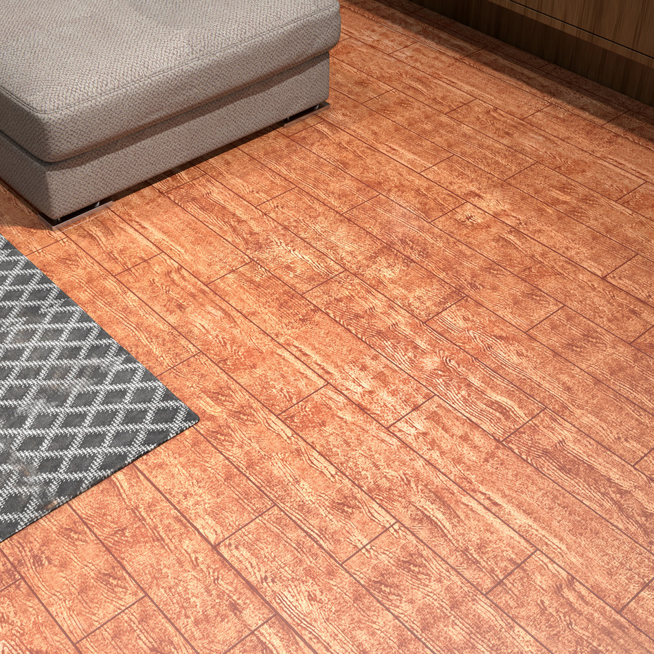 Rustic Red Oak ECF floor in basement close-up