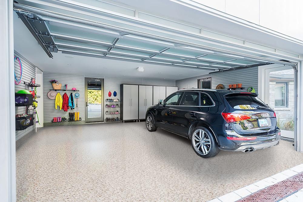 "RenuKrete Epoxy Garage floor in Color Theme ""Brown Acres"""