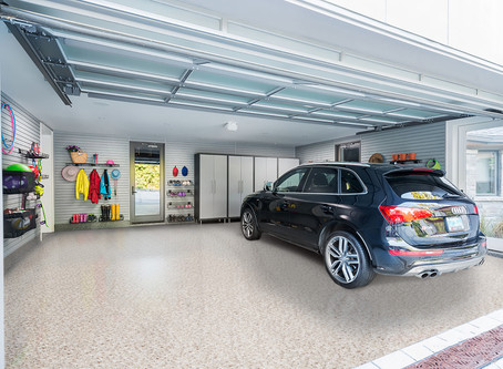 Garage floor as art? Tile designs for epic epoxy-coated garage floors.