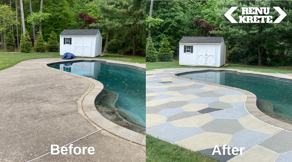 This concrete pool deck is about 20 years old with cracks, dirty and sunken slabs. Now it looks like a wonderful natural flagstone deck.
