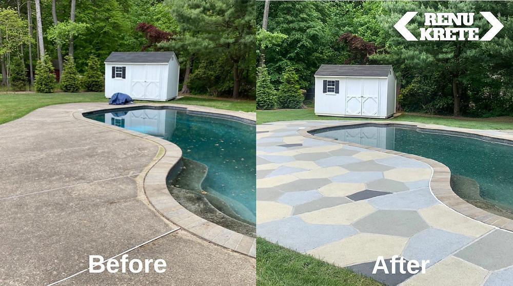 Shows an old concrete pool deck, rejuvenated to look like Granite Slate RenuKrete flagstone
