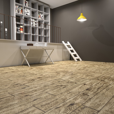 French Pine RenuKrete ECF floor in basement with laundry table and stairs