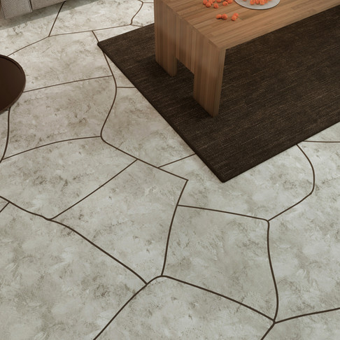 Concrete Floor in Flagstone Style Dark Marble