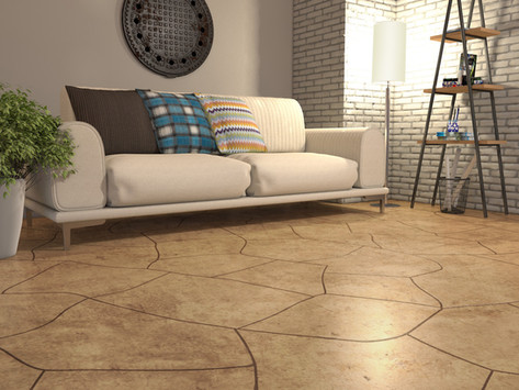 Tiles and carpeting in the basement don't compare to RenuKrete® flagstone slate.