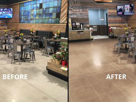 A RenuKrete floor can help keep the court out of the Cafe.