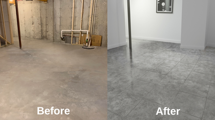 Before and after of a basement renovation