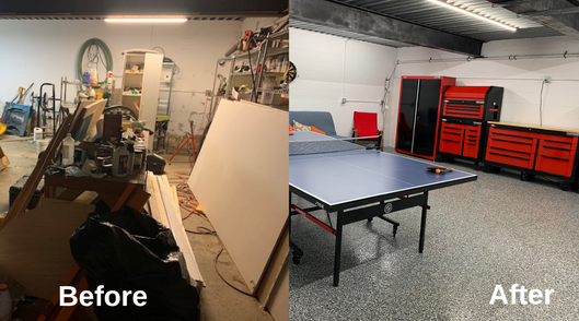 Before After of a great garage renovation project