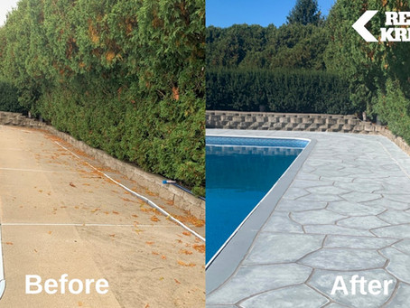 "Is your concrete pool deck ready for your poolside ""pod""? Restore it now with RenuKrete."
