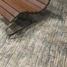Nordic Black Maple ECF floor in basement with modern chair close-up