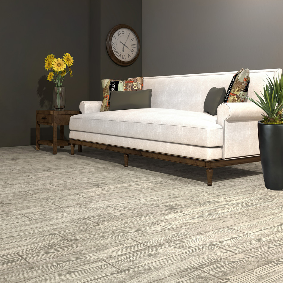 Carolina Birchwood RenuKrete ECF floor in basement with couch