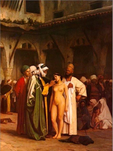 """""""Mercado de esclavos"""", por Jean-Léon Gérôme (1866)"""