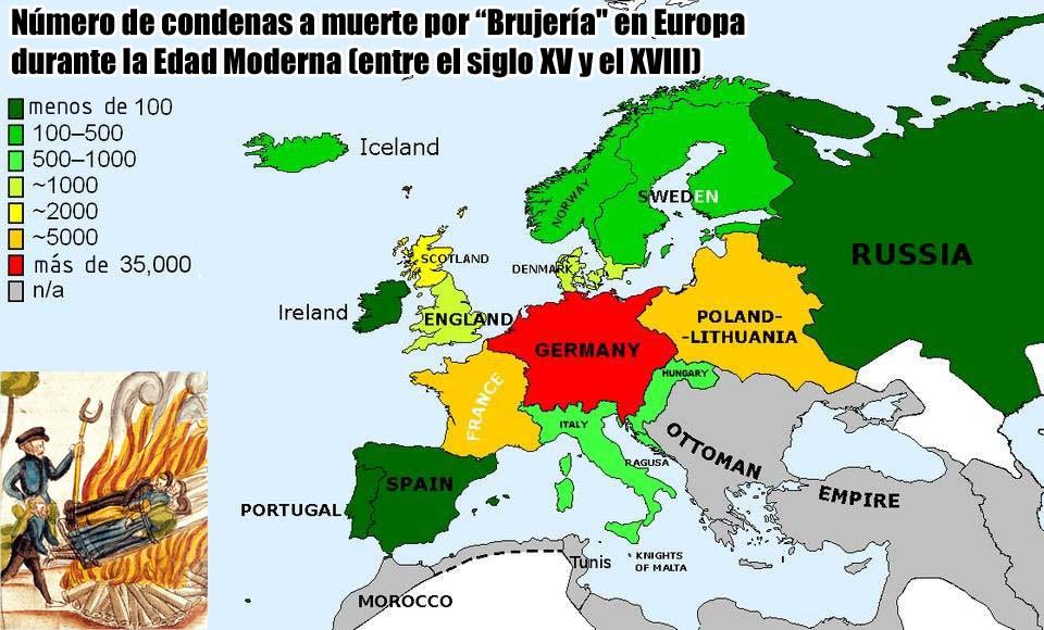 """número de personas condenadas a muerte por """"Brujería"""" en Europa durante la Edad Moderna"""