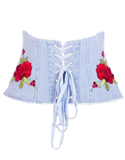 Pas gorsetowy Coralie jasny jeans z kwiatami