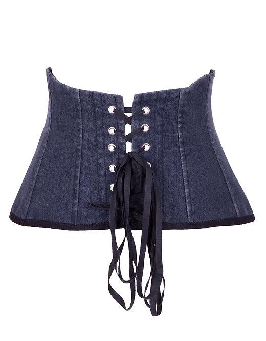 Pas gorsetowy Lou z ciemnego jeansu