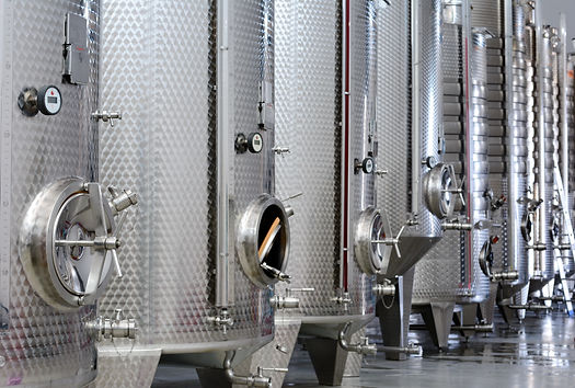Modern wine factory with new large tanks