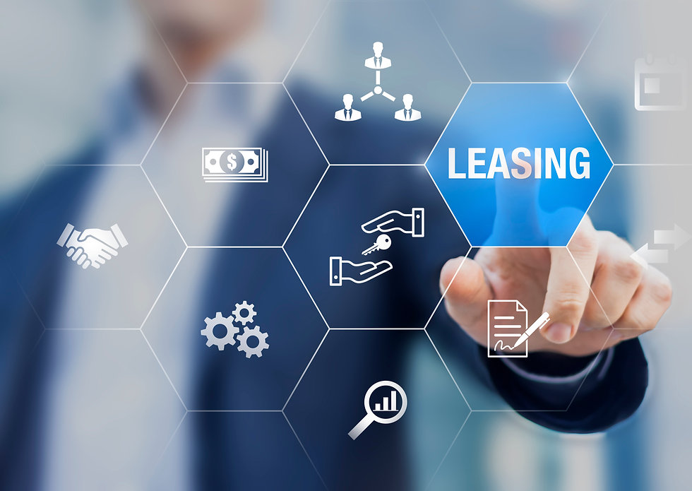 Leasing business concept with icons abou