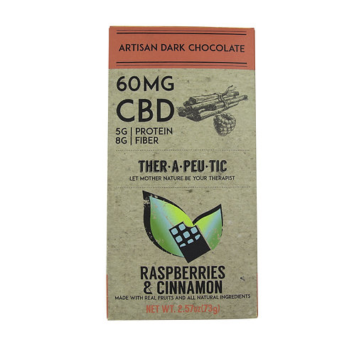 Therapeutic – CBD Dark Chocolate Raspberry & Cinnamon (60mg CBD)